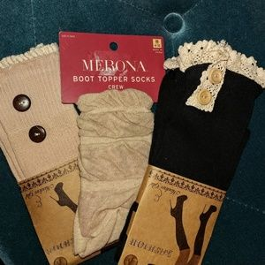 3 pair lace top boot knee socks black & tan